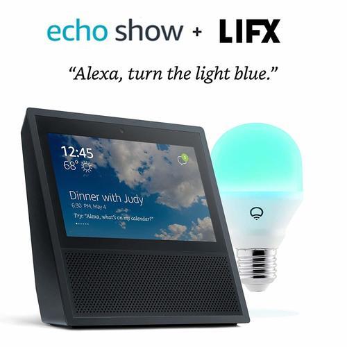Echo Show - Black + LIFX Mini Multicolor Smart Bulb