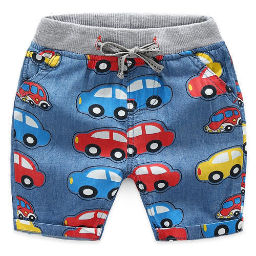 Blue Car Print Elasticated Waist Shorts