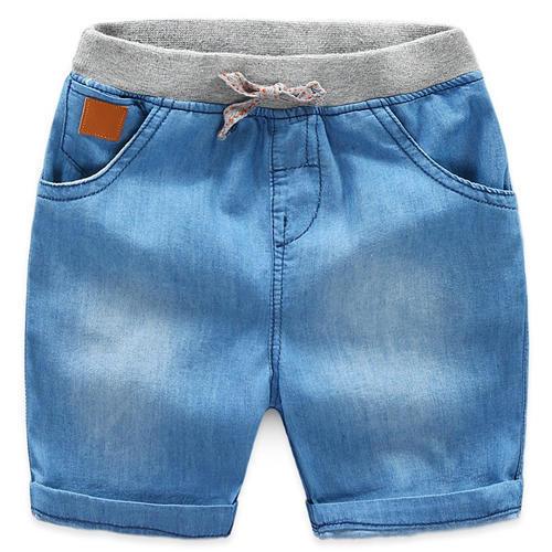 Blue Solid Elasticated Waist Short
