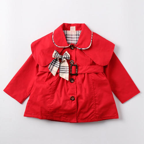 Full Sleeves Red Coat With Bow