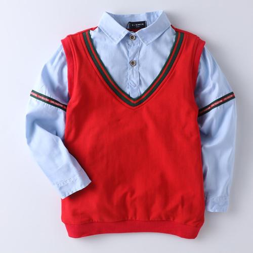 White Shirt Stylish Red Sweater