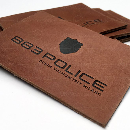 Real Leather Label With Hot Stamped Logo