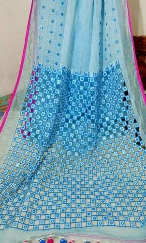 Light Blue Linen Saree With Blouse Piece