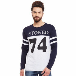 Men Melange Cotton Printed T Shirt