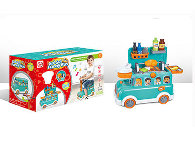 Funny Bus BBQ Toy Set with Light and Music for Kids at Price