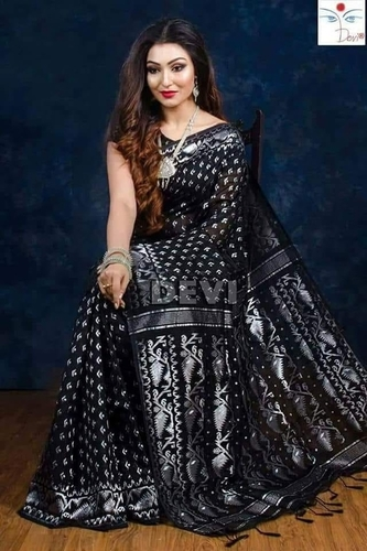 c30f6998b6a107 Black Muslin Saree For Ladies in Nadia, West Bengal - Das Textile