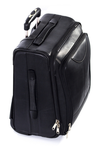 Travelling Leather Trolley Bag