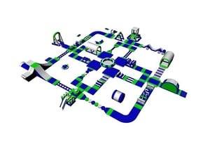 Inflatable Pool Obstacle Course Inflatable Aqua Water Park Game
