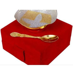 German Silver Bowl And Spoon With Velvet Box - Return Gift