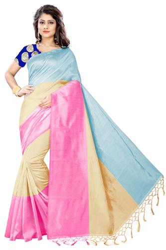Women'S Embroidery Work Cotton Silk Saree