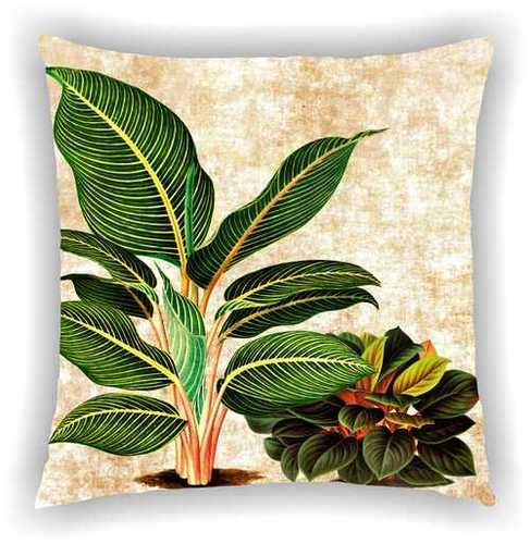 Cream Floral Multi Leaves Design Cushion Cover (Digital Printed)