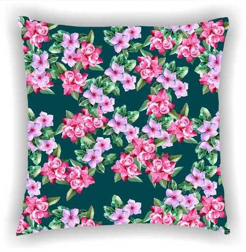 Digital Printed Black Floral Multi Leaves Design Cushion Cover (S-217)