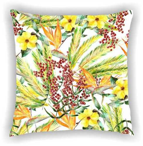 Digital Printed Floral Multi Colors and Leaves Design Cushion Cover