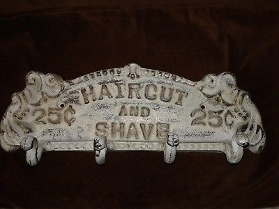 Cast Iron Haircut And Shave 4 Hooks Towel Coat Key Hat Rack Hanger White Wash