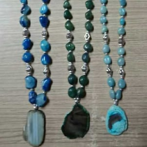 Agate Stone Plate Necklace