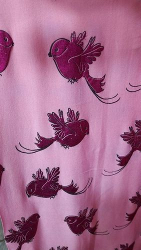 Bird Printed Foil Fabric