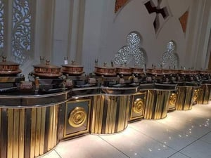 Round Golden And Black Buffet Table