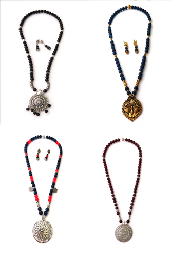 Silver Pendant Beads Long Necklace Gender: Unisex