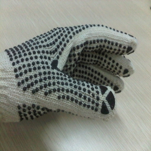 7 And 10 Gauge Dotting Cotton Knitted Hand Gloves
