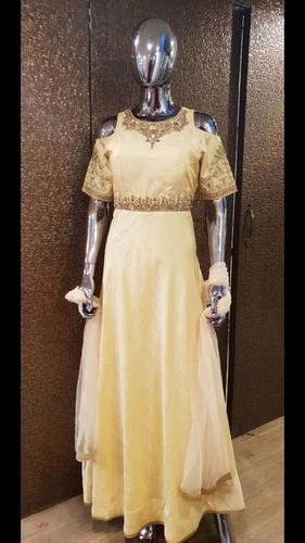 Pure Silk And Zari Work Gown