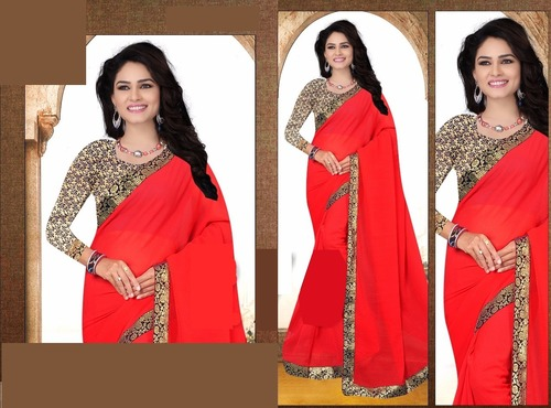 Red Synthetic Saree