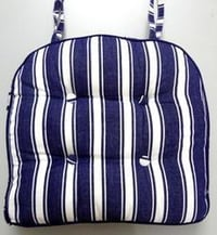 Blue Striped Cotton Chair Pads