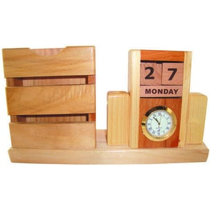 Wooden Table Clock With Card Holder