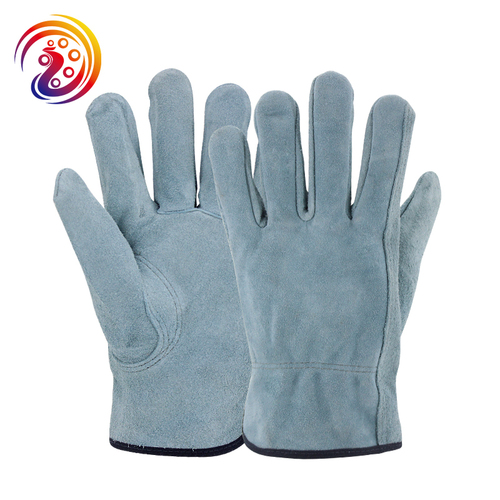 Split Leather Design Industrial Safety Mechanics Woodworking Gloves