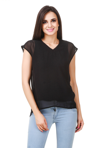 45c3ab9811fc02 Casual Half Sleeve Solid Women s Black Top