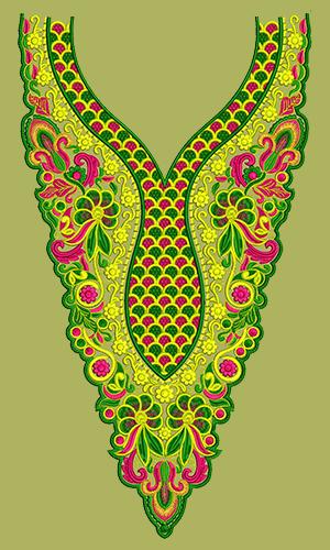 Dress Embroidery Design - Neck, Yoke, Gala