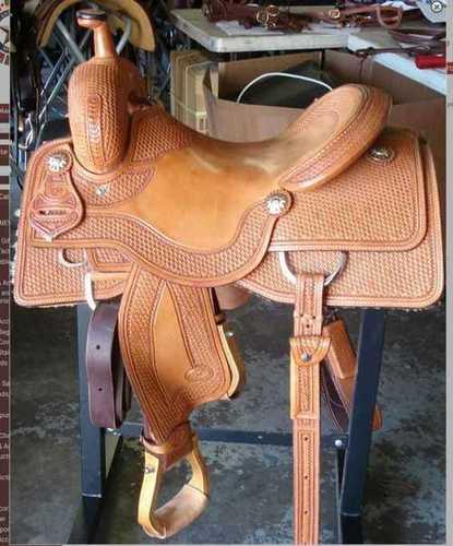 Brown Slick Leather Western Horse Saddle