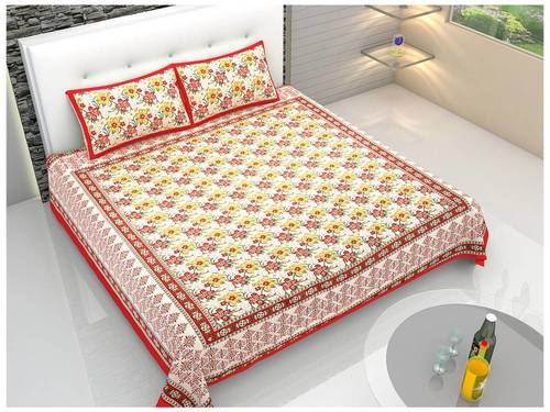 Prochine Print King Size Cotton Bed Sheet With Pillow Covers