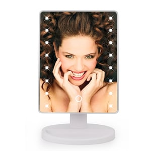 Fancy Plastic Craft Table Stand Single Sided LED Square Plastic Makeup Mirror