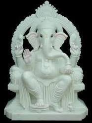 Aesthetically Painted Marble Ganesh Statues