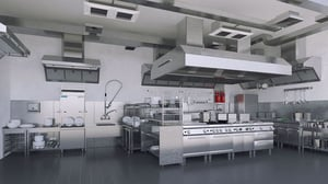 Modern Commercial Kitchen With Chimney