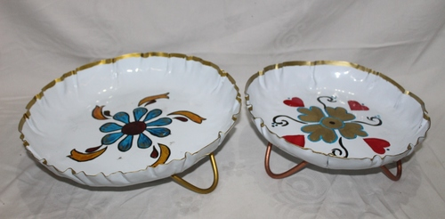 WHITE Hand Painted Iron Bowl