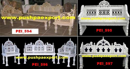 White Marble Stone Carved Sofa Set, Chair And Bench