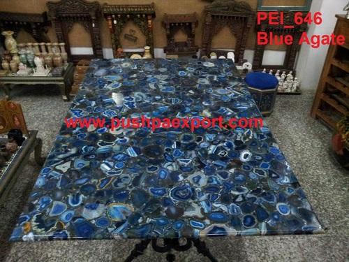 Semi Precious Blue Agate Stone Wall Panel And Slab