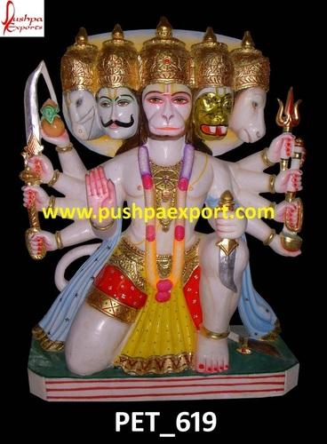 White Marble Painted Lord Hanuman Ji Statue