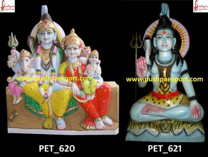 Indian White Marble Painted Lord Shiva Family And Shiva Lord Statue