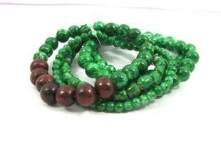 Anniversary Glass And Wooden Bead Made Bracelets