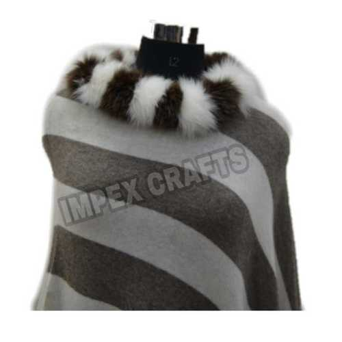 Acrylic Woolen Poncho With Neck Fur