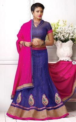 Dry Cleaning Designer Pink And Blue Patachitra Lehenga