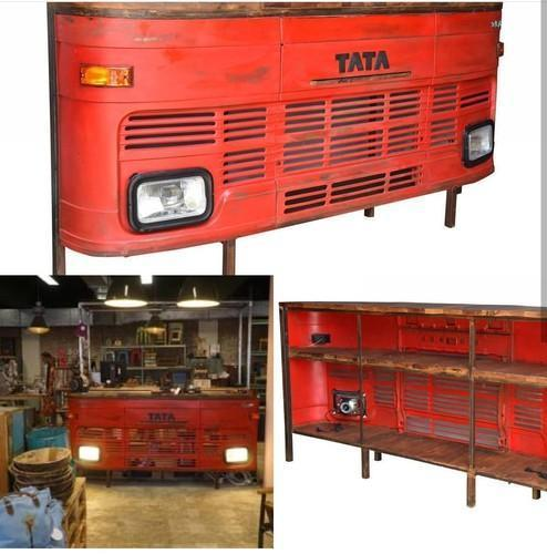 Red Color Handicrafted Truck Counter