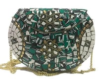 Women Beaded Metal Bag
