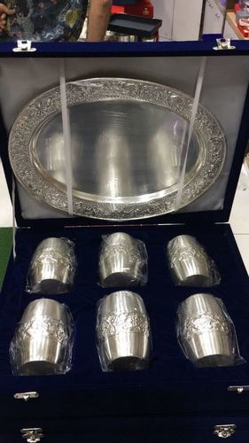 Silver Plated Glass Set With Tray