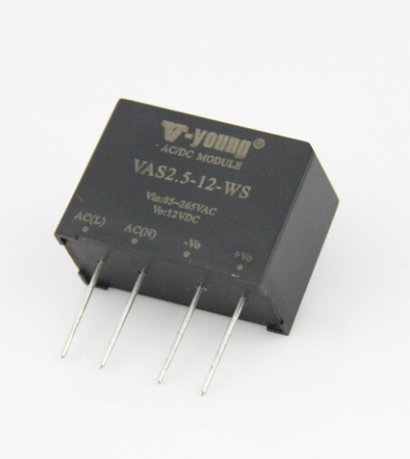 Sip Type 2.5W Ac/Dc Converter, 5/12/15/24V Pcb Mount Power Supply, 3000V Isolation, High Efficiency Certifications: Ul Iso