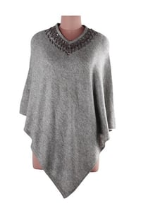 Grey V-Neck Sequined Cashmere Wool Poncho