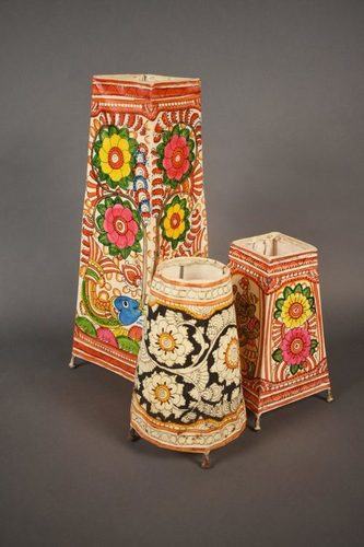 Hand Painted Leather Lamp Shades