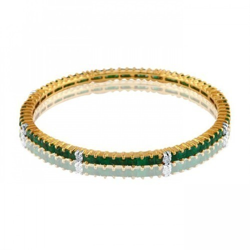 Fine Sheen Emerald Bangles